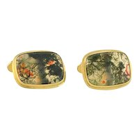 Late Art Deco Gilded Silver Moss Agate Cufflinks