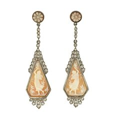 Art Deco Sterling Silver French Paste Cameo Earrings