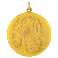 Victorian 14kt Gold Locket with Engraved Initials