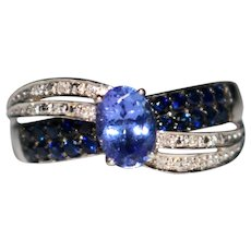 Estate 10k White Gold Tanzanite, Blue Sapphire & Diamond Ring, Size 8