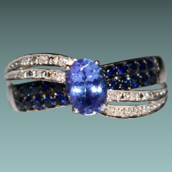 Estate 10k White Gold Tanzanite, Blue Sapphire & Diamond Ring, Size 8