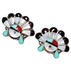 Vintage Zuni Indian Sterling Multi Stone Sunface Kachina Earrings - Posts