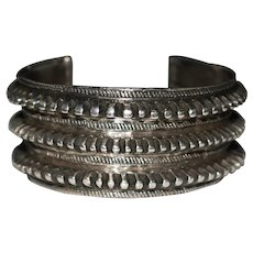 Heavy Vintage Ethnic Tribal Sterling Silver Ridged Triple Row Cuff Bracelet