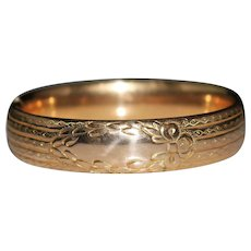 Victorian Etched Ribbon Antique Gold Filled Hinged Bangle Bracelet