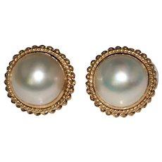 Elegant Vintage 14k Yellow Gold 15mm South Sea Mabe Pearl Earrings, Omega Backs