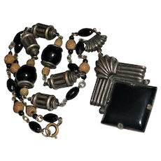 Art Deco Black Czech Glass & Carved Bead Cylinder Necklace, Silver Tone