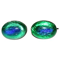Art Deco Peacock Eye Venetian Art Glass Screwback Earrings