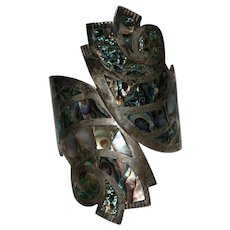 Vintage TAXCO Mexico Sterling & Abalone Hinged Clamper Bracelet, Signed BETO CRO