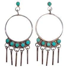 Vintage Zuni Indian Sterling Silver Turquoise Hoop Earrings Signed M. H. Vacit