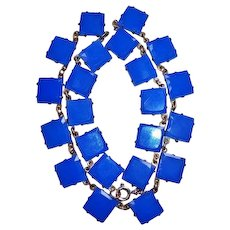 Art Deco Czech Blue Glass Squares Necklace, circa 1920's-30's