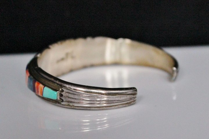 02f56c809e5 Native American Navajo Indian Sterling Multi Stone Inlay Cuff Bracelet  Signed PL