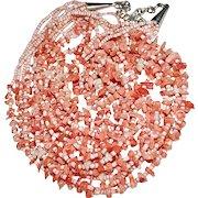 Estate Native American Sterling 7 Strand Heishi Chip Angel Skin Coral Necklace