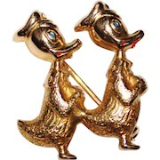 Vintage 14k Yellow Gold Walt Disney's Donald Duck Brooch Pin, Enamel, 3.2 Grams