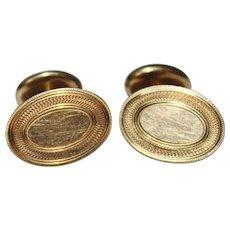Antique 14k Yellow Gold Monogram Ready Cufflinks, Men's Jewelry, 4.6 Grams