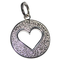 Fancy 14k White Gold Double Sided Texture Cut Out Heart Pendant Italy, 4.2 Grams