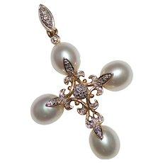 Pretty Estate Filigree Pearl & Diamond Cross Pendant, 14k Yellow Gold, 5.2 Grams