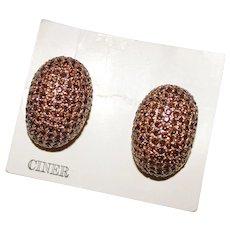Vintage Brown Rhinestone Domed Clip Earrings by CINER, on Original Card