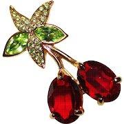 Signed SWAROVSKI Crystal Rhinestone Cherry Brooch Pin - Cherries - Swan Mark