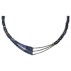 """Vintage 950 Sterling Mexico SODALITE Inlay Necklace, 16"""", 38.3 Grams"""