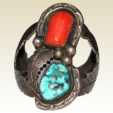 1970's Navajo Indian Signed LC Turquoise & Coral Ring, Size 12.75
