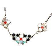Vintage Zuni Native American Inlay Flower Necklace, Winnie L. Zephier, Sterling