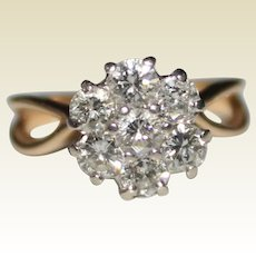 Estate 14k Yellow Gold 1.05 CTW Diamond Cluster Flower Ring, Engagement