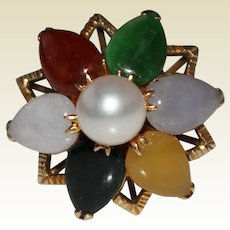 Vintage 1960's 14k Yellow Gold Multi Color Jade & Cultured Pearl Ring, Size 6