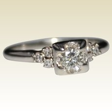 Vintage 1950's 14k White Gold .63CTW Diamond Engagement Ring, Illusion Setting