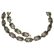 Rare Art Deco 14k Enamel Link Necklace - Diana by Krementz