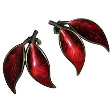 Vintage Sterling David Andersen Willy Winnaess Red Double Leaf Earrings, Norway