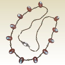 Antique Victorian Signed Czechoslovakia SAPHIRET Glass Necklace, Steel Beads