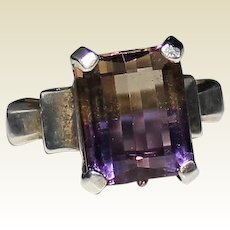 Fab Estate Sterling Silver AMETRINE Ring, Emerald Cut, Size 5 3/4 - 4.77 Carats