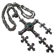 Vintage Sterling Mexican Yalalag Wedding Cross Necklace Circa 1940s-50s