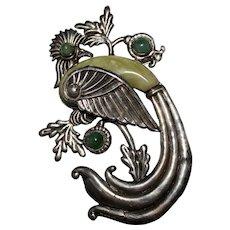 MASSIVE Vintage Pre Eagle Mexico Sterling Mexican Jade Bird Cockatoo Brooch Pin