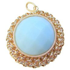 Large Vintage 14k Yellow Gold Milky Green Amazonite Pendant - Milor Italy