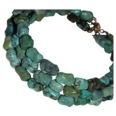 Chunky Vintage Chinese Triple Strand Turquoise Knuckle Bead 14k Gold Necklace