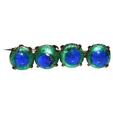 Antique Foil Peacock Eye Glass Bar Pin Brooch