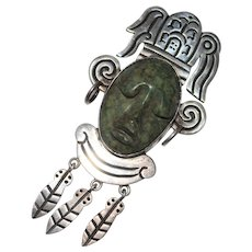 Vintage Taxco Mexico Sterling Aztec Face Brooch Carved Green Stone - Signed CPJ