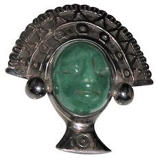 Signed Taxco Mexico Sterling Aztec Warrior Face Pendant Brooch - Aventurine