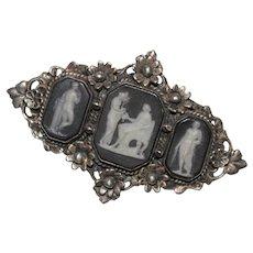 Unusual Vintage Sterling Silver Triple Scene WEDGWOOD Cameo Brooch - Floral