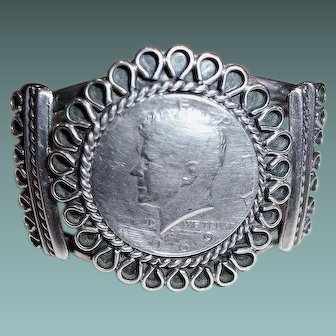 Vintage Navajo Indian Kennedy Half Dollar Coin Sterling Cuff Bracelet