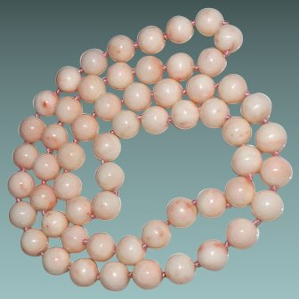 "Vintage Angel Skin Coral 10mm Bead Necklace, 25"", No Clasp, 94.2 Grams"