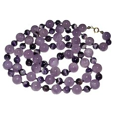 """Vintage Polished Amethyst Bead Necklace, Knotted, Chinese, 35"""" - 11MM"""