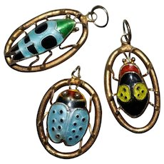 Set of 3 Vintage CHINESE EXPORT Sterling Silver Enamel Bug Charms Pendants