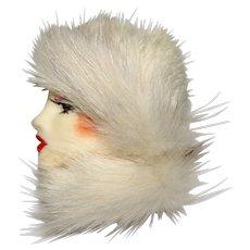 Vintage Ceramic Lady Face Brooch Mink Fur Hat & Collar