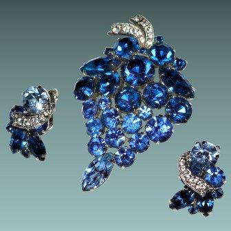 Vintage WEISS Blue Rhinestone Grape Cluster Brooch & Earrings Set
