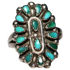 Vintage ZUNI Indian Sterling Petit Point Turquoise Cluster Ring, Size 7