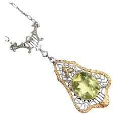 Art Deco Sterling Filigree Lemon Glass Multi Tone Necklace - Drop