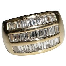 Estate 14k Yellow Gold 3 CTW Diamond Band Ring - Baguettes - Size 6 - 14.4 Grams
