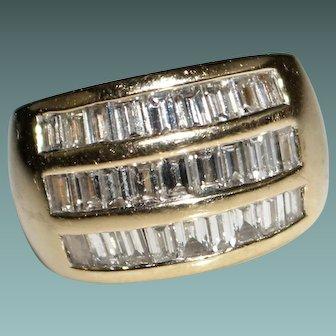 Estate 14k Yellow Gold 3 CTW Diamond Band Ring - Baguettes - Size 6 - 14.4 Grams